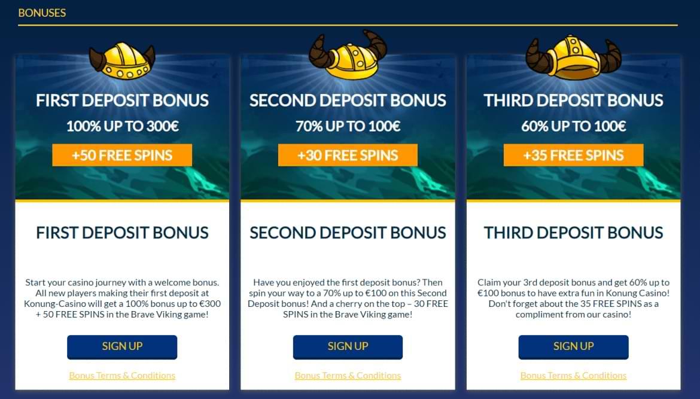 konung casino welcome bonus offer