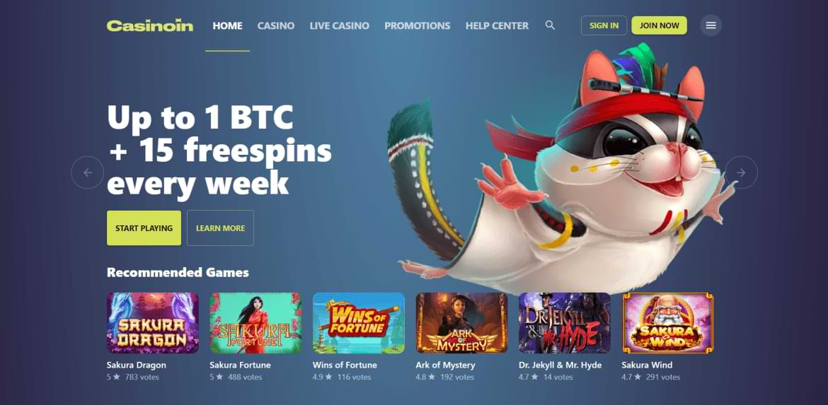 Casinoin Game start page