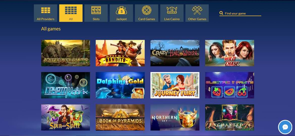 konung casino all games section
