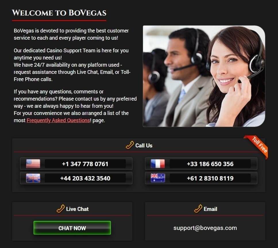 BoVegas Casino Review - Customer Service