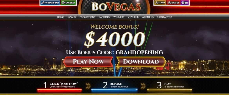 BoVegas Casino Review - Home-Screen