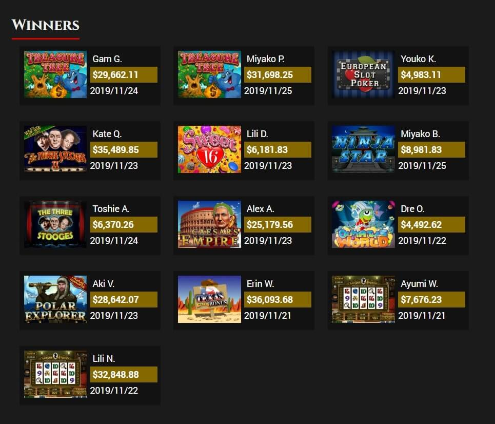 BoVegas Casino Review - Winners' Section