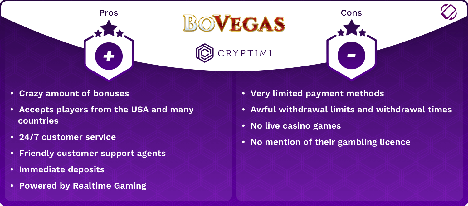 BoVegas Pros and Cons Infographic