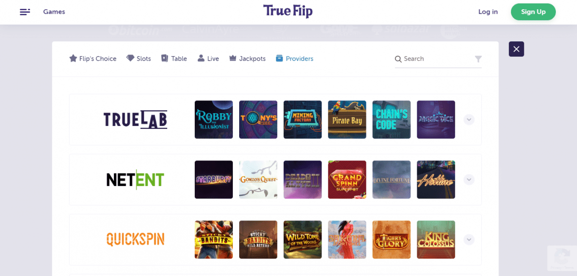 True Flip Casino Games Providers