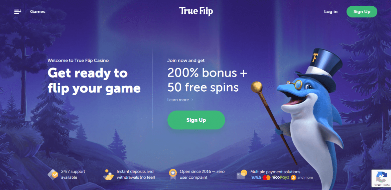 True Flip Casino Landing Page 1