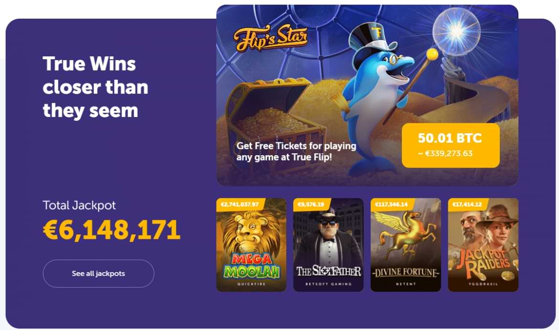 True Flip Casino Landing Page