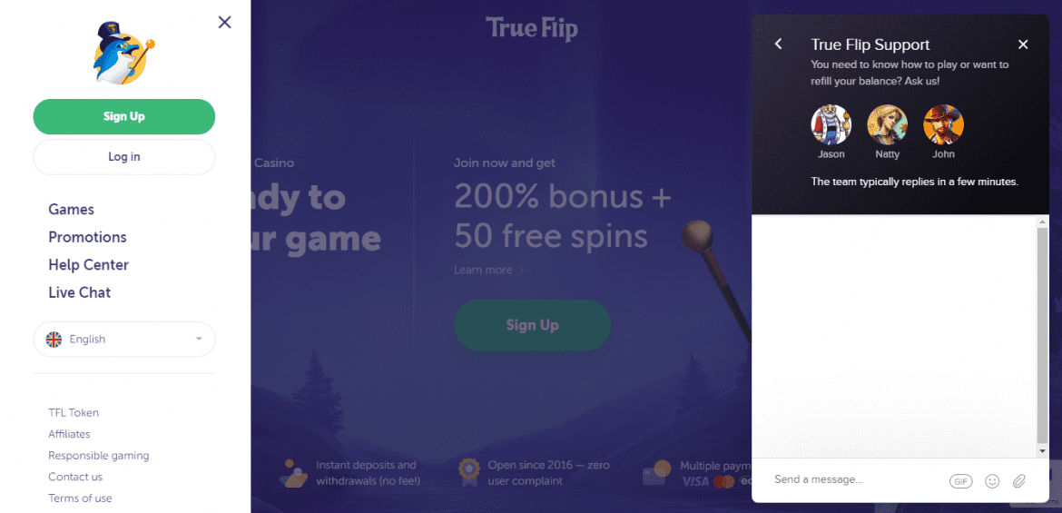 True Flip Casino Customer Support