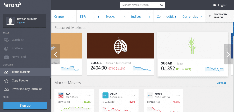 eToro Bitcoin Cross Markets