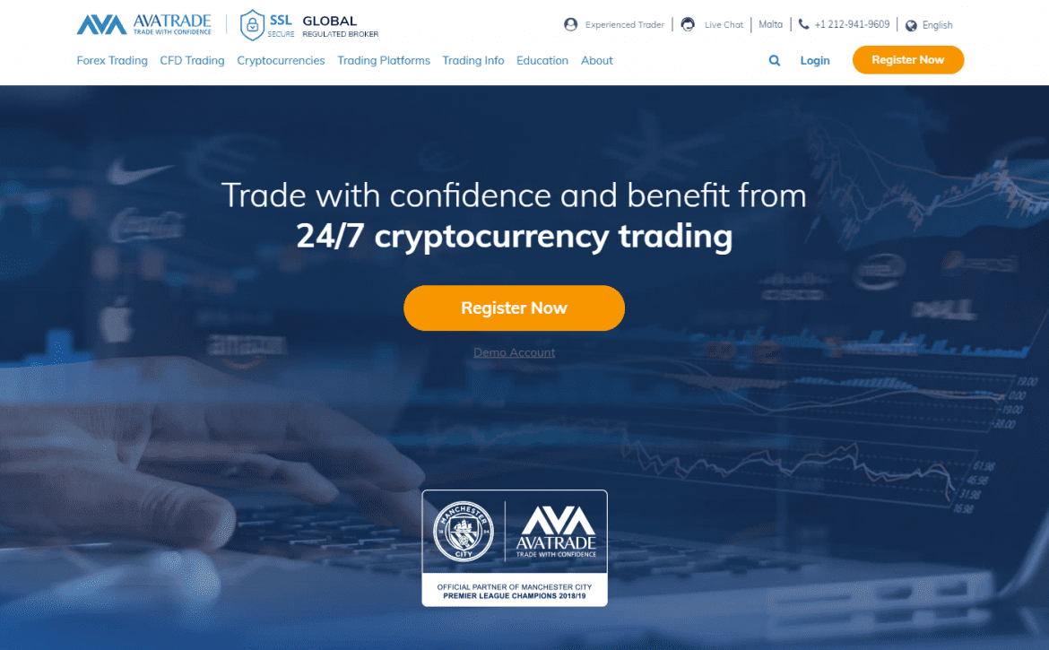 AvaTrade Regulated CFD Broker 24 by 7 cryptocurrency trading