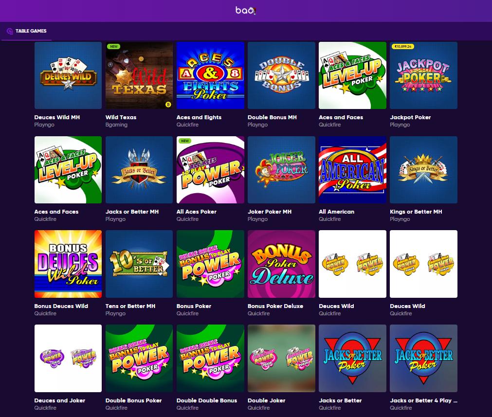BAO Casino Poker Games' Selection