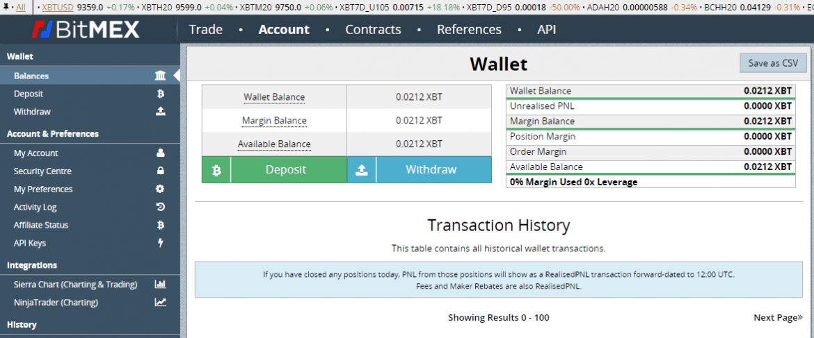 BitMex Exchange Wallet