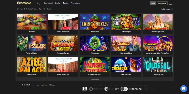 Bitomania Casino Startpage