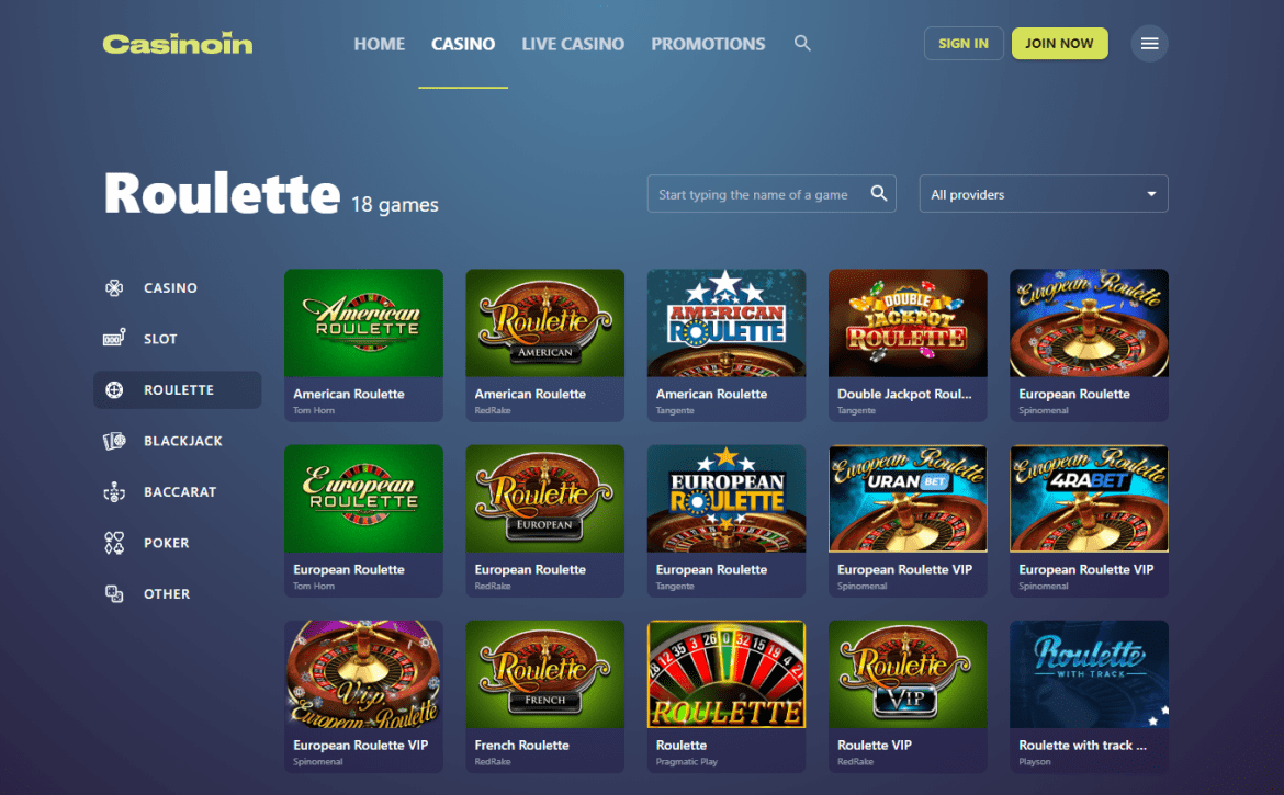Casinoin Roulette Lobby