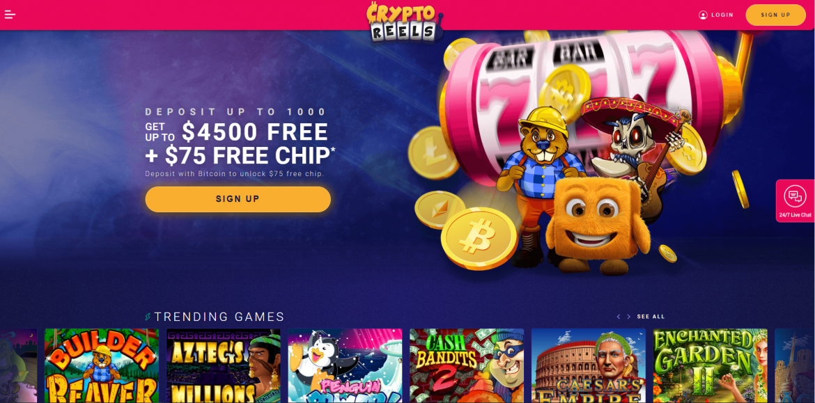 CryptoReels Casino Review - Landing Page