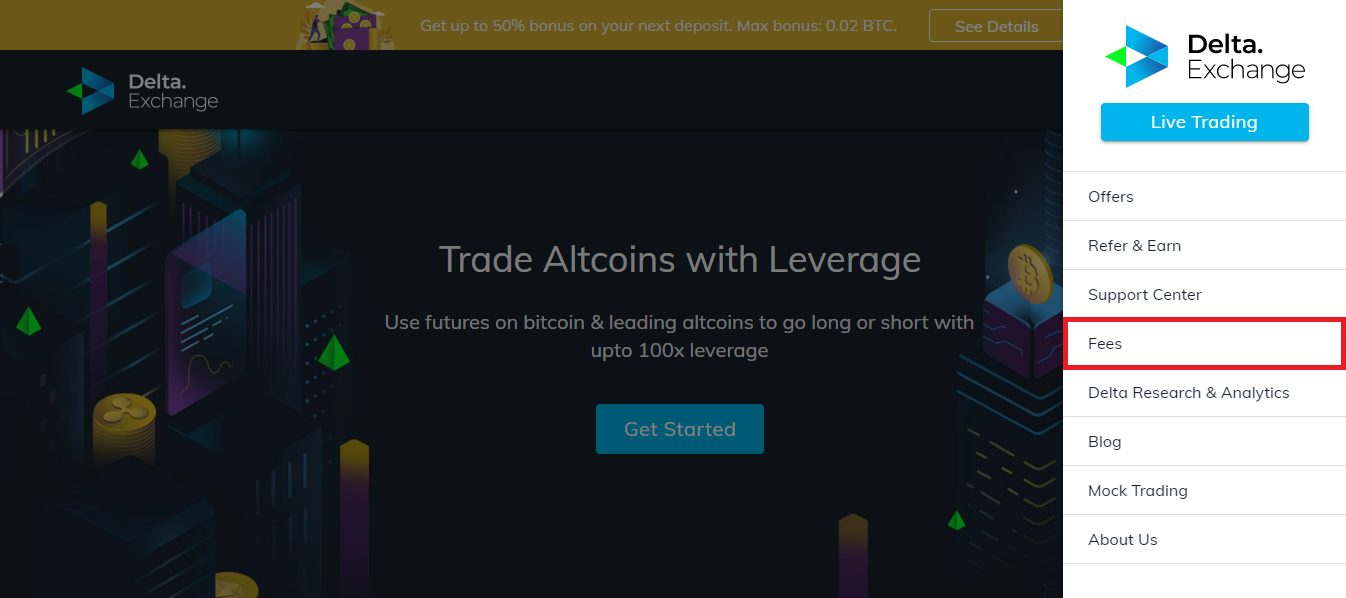 Delta Exchange Fees Page