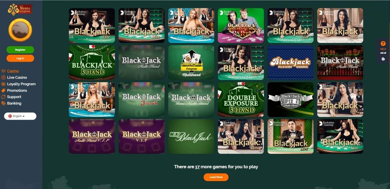 Monte Cryptos Casino - Blackjack Games
