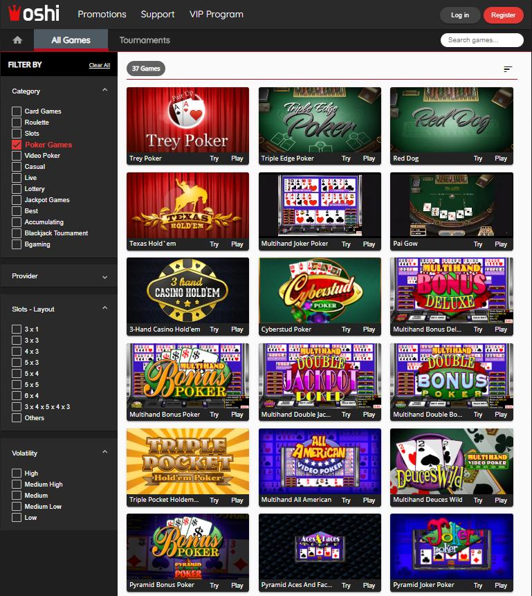 Oshi Casino Poker Games' Selection