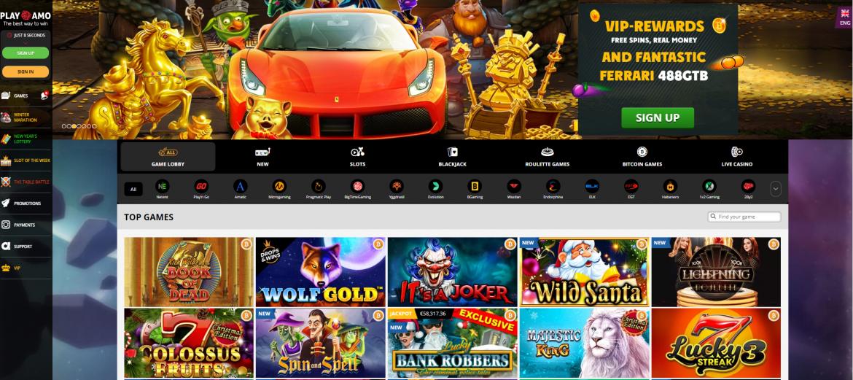 PlayAmo Casino Landing Page