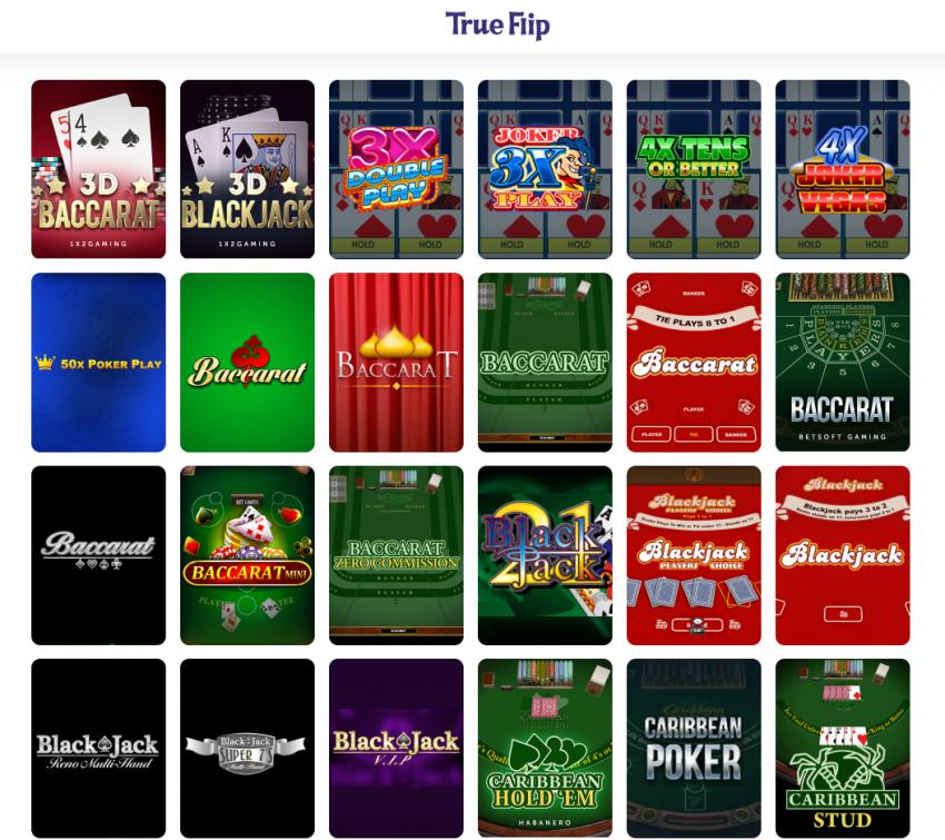 True Flip Casino Card Games' Selection