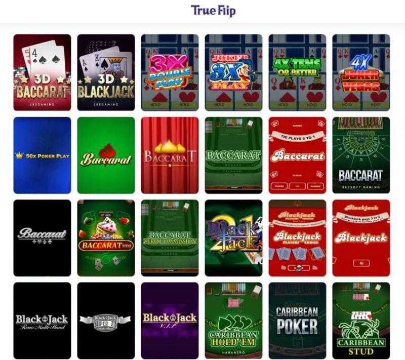 true flip casino card games section