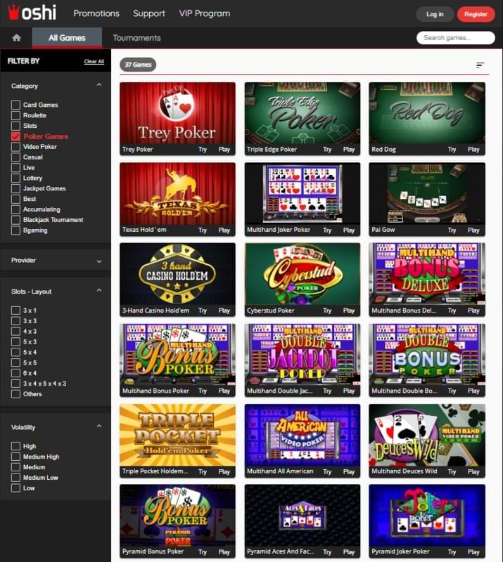 Oshi Casino Poker section