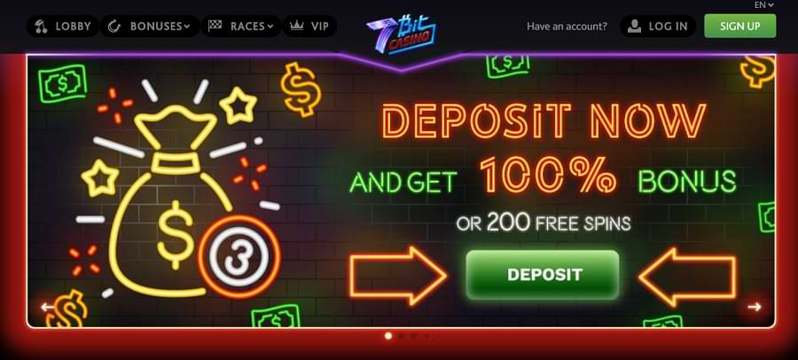 7BIT casino landing page