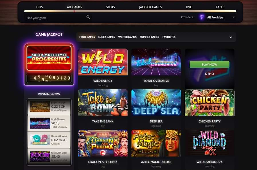 Game lobby showing all games