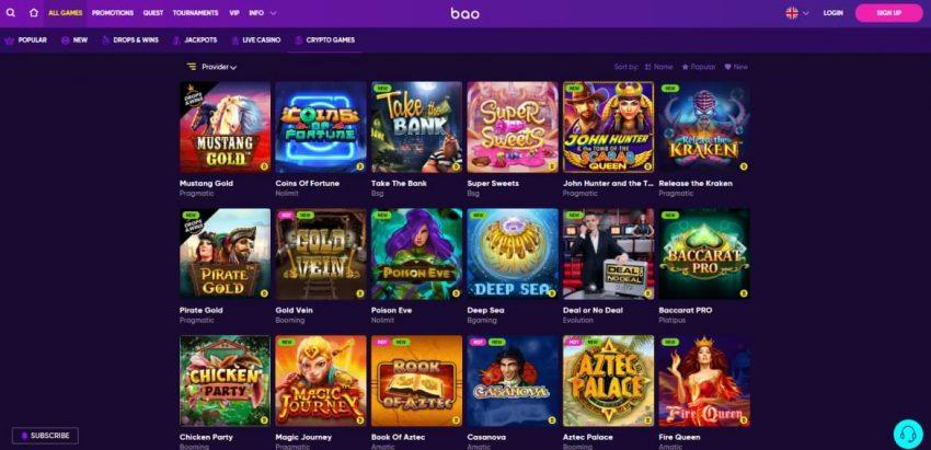 bao casino crypto games section