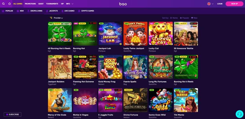 Bao casino jackpots section