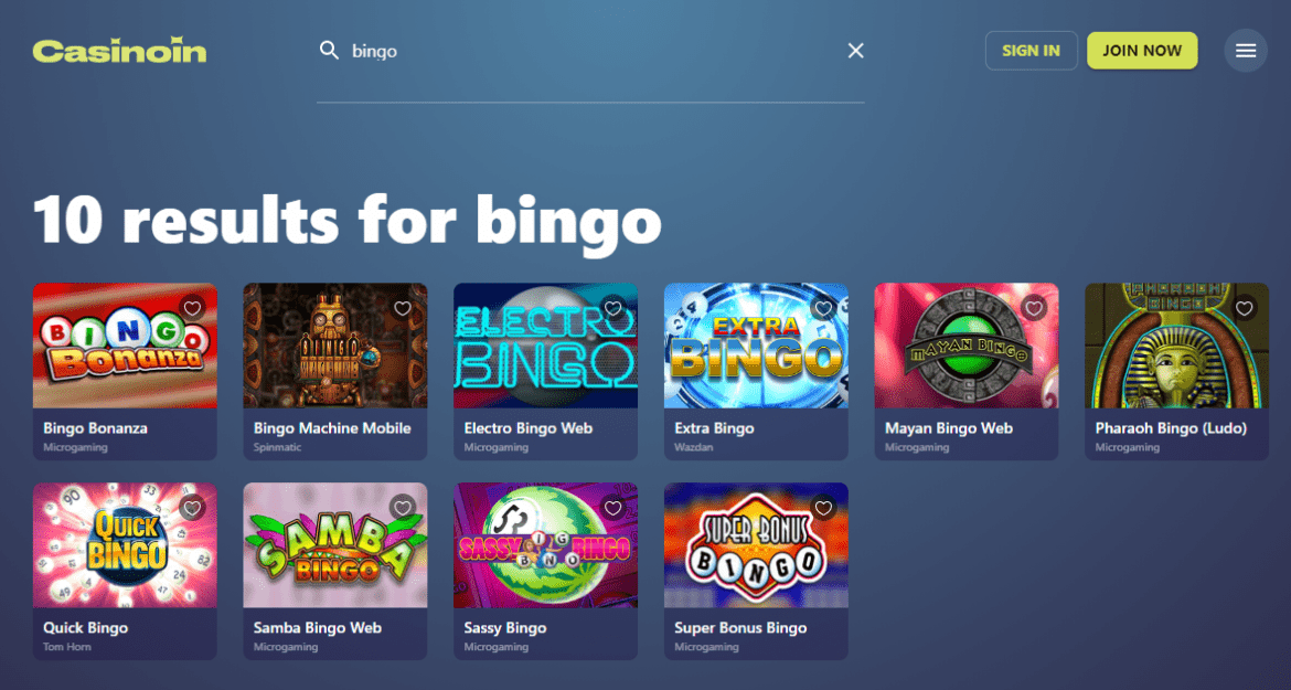 Casinoin - Bingo Games' Selection