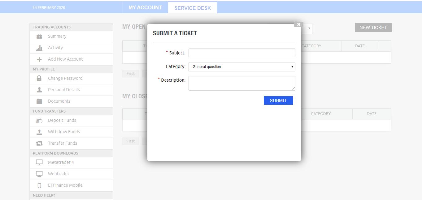 ETFinance - Submit a Ticket