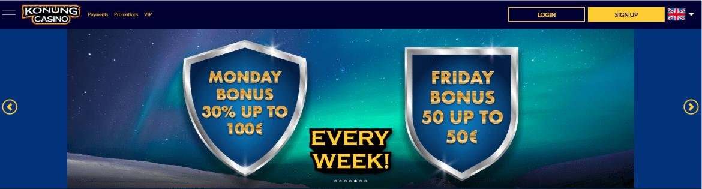 Konung Casino - Weekly Bonuses