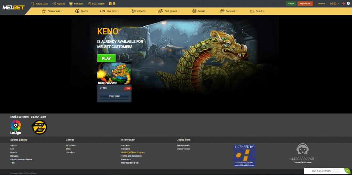 Melbet Casino - Keno Game