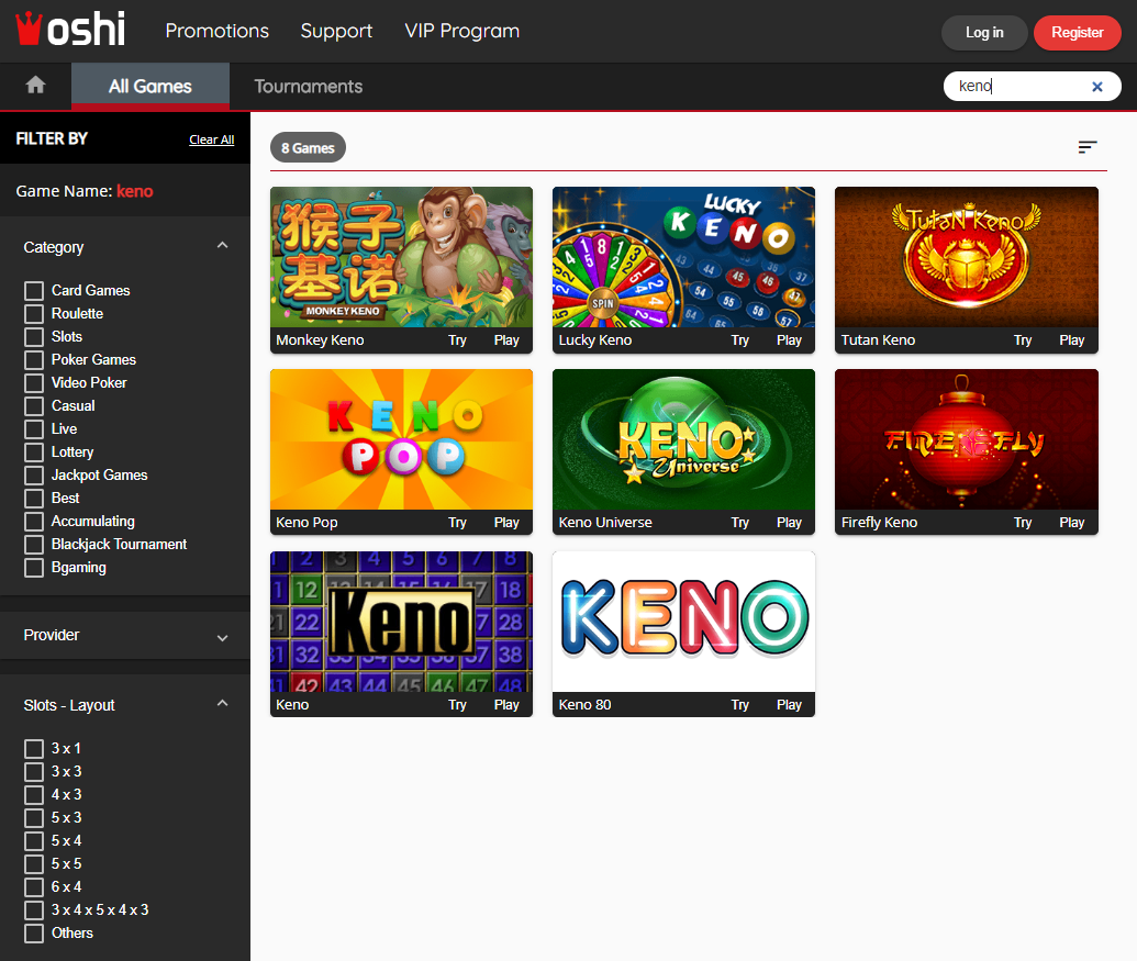 Oshi Casino - Keno Games' Selection