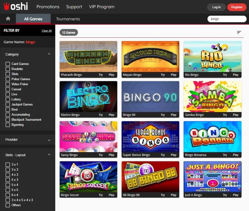 oshi casino bingo games section
