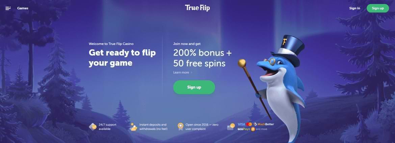 True Flip bitcoin bonus offer