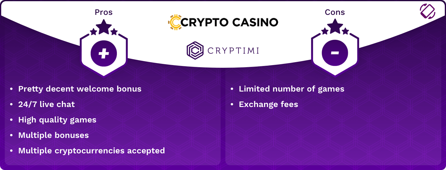 CryptoCasino Pros and Cons Infographic