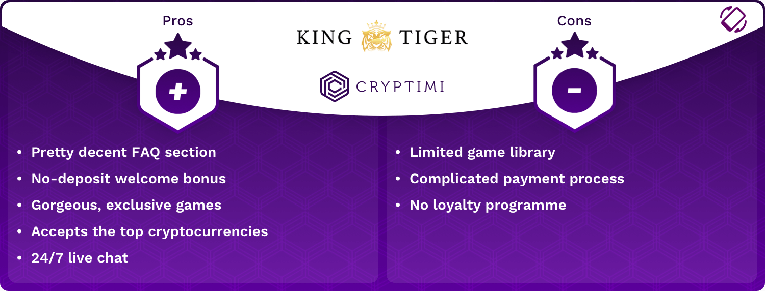 KingTiger Pros and Cons Infographic