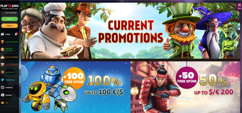 PlayAmo Casino - Kein Einzahlungsbonus