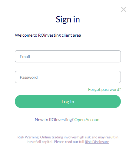 ROInvesting Review - Log In Page