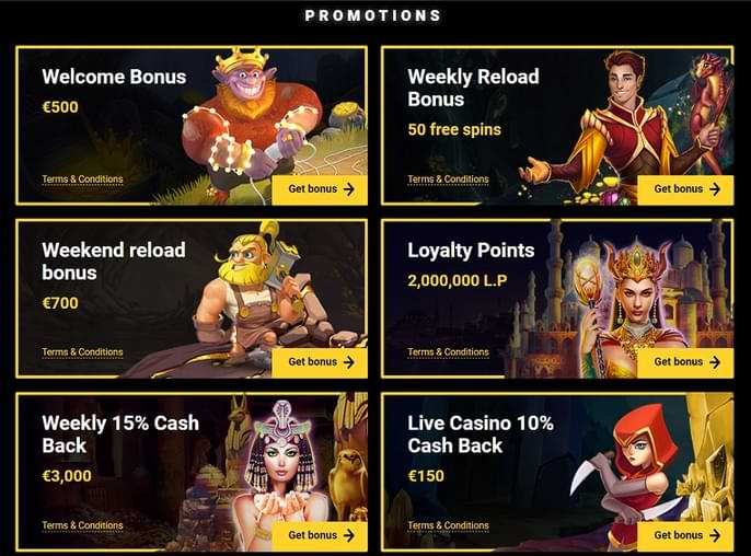 ZetCasino Promotions Page Sample
