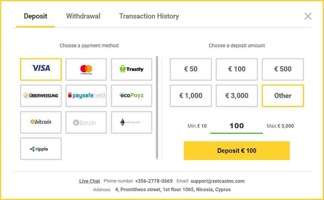 ZetCasino Review - Payment Setup