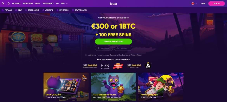 BAO Casino landing page