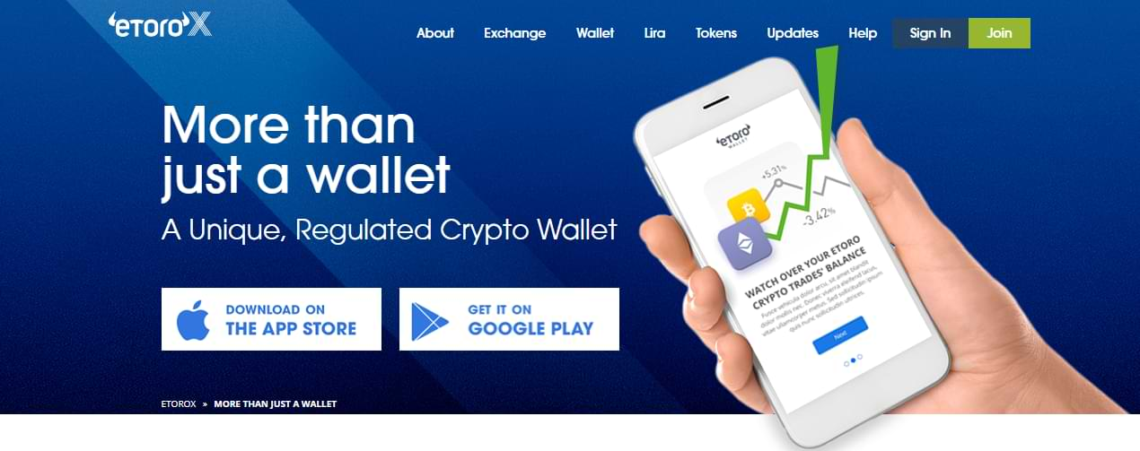 eToro Wallet - Landing Page