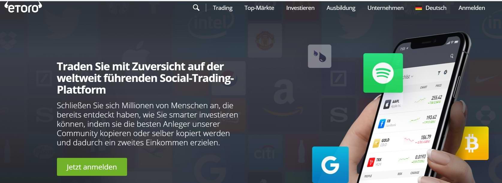 eToro Startseite Screenshot