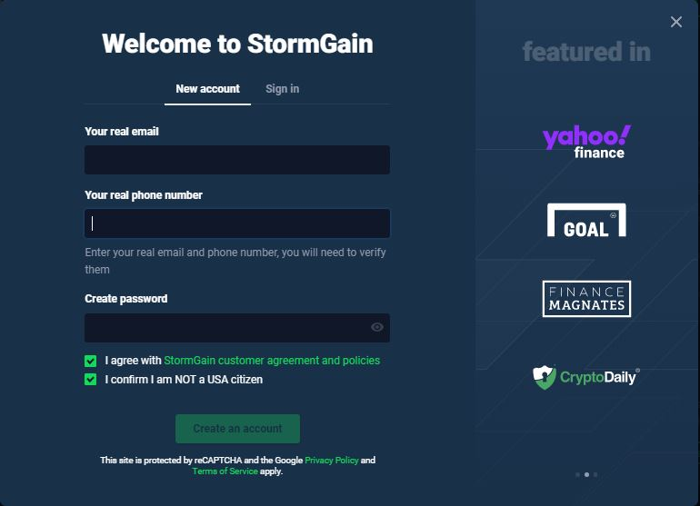 StormGain review - Sing up