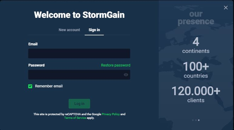 StormGain Review - Sign in