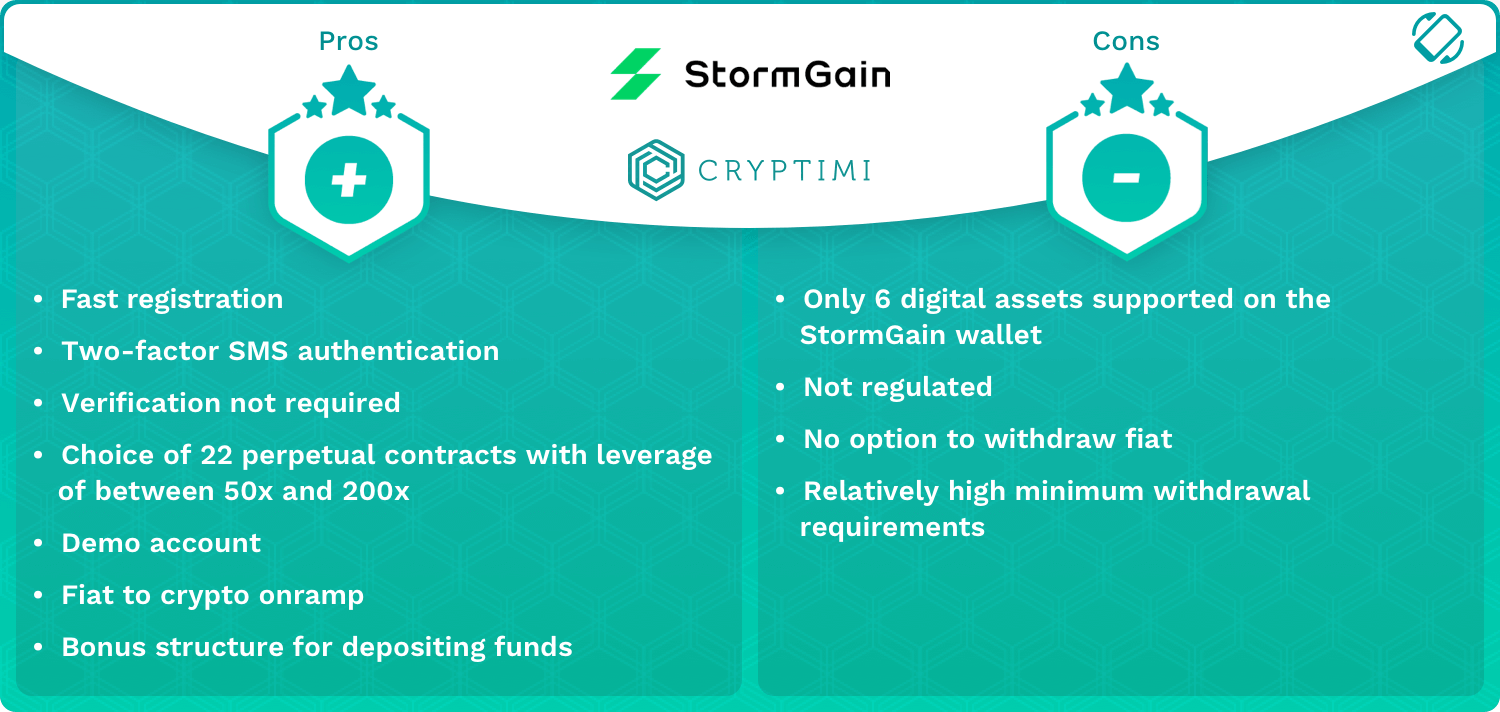 StormGain Pros and Cons