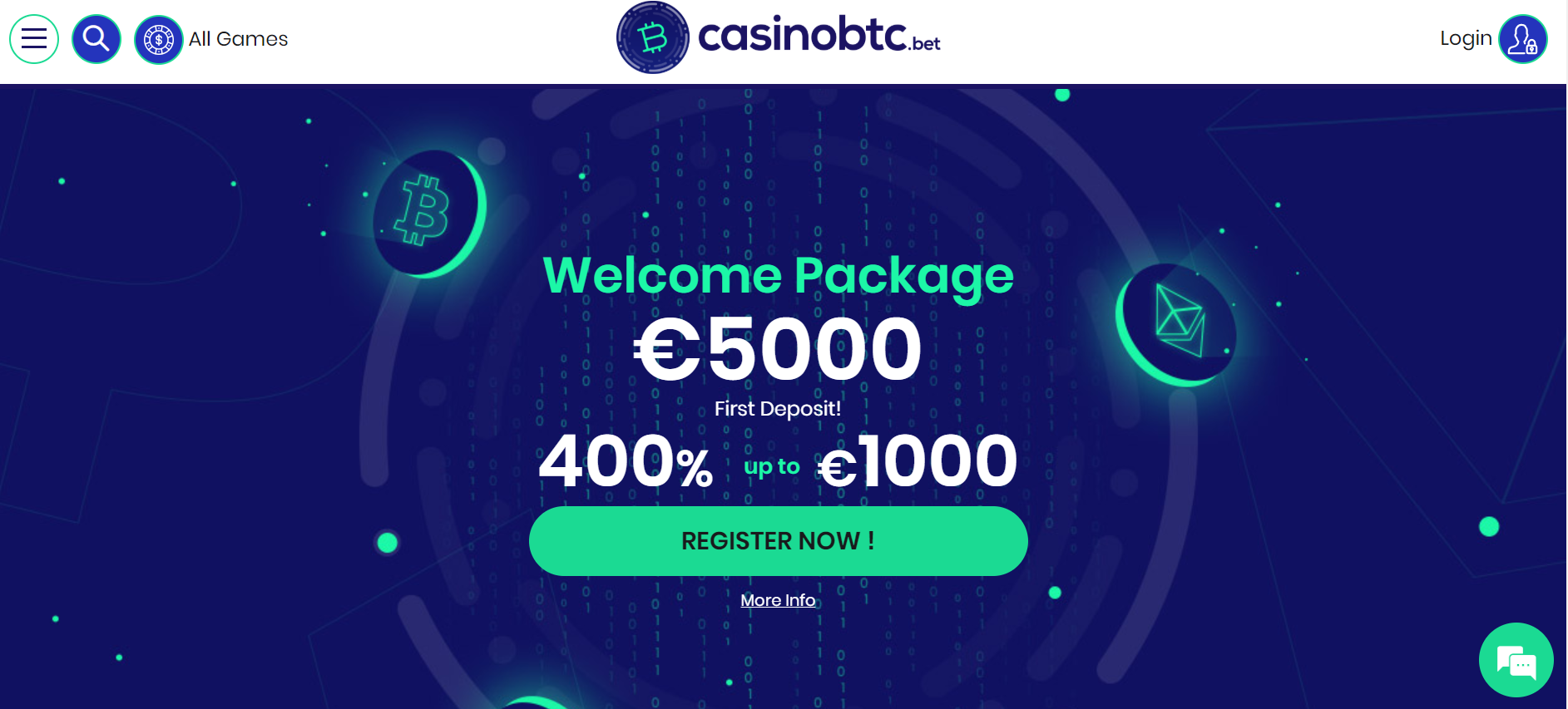 CasinoBTC - Landing Page