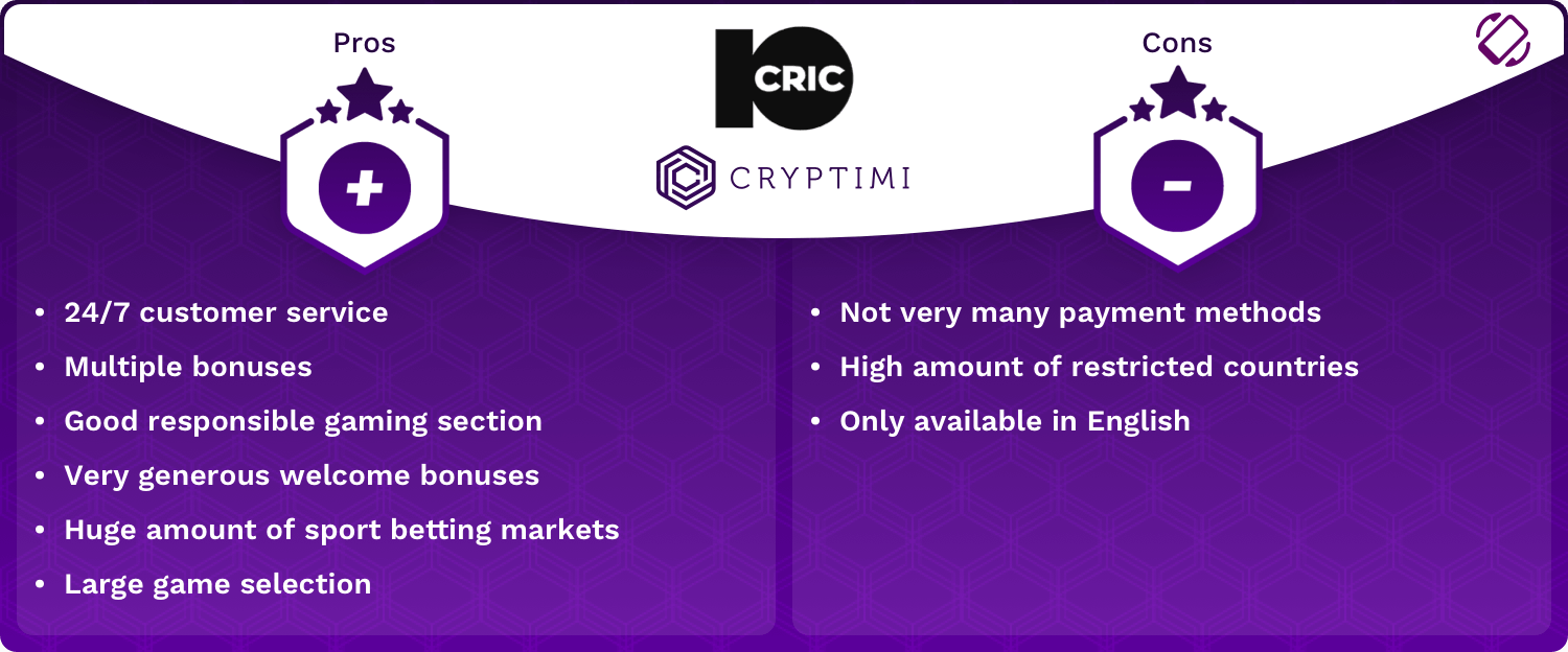 10CRIC Pros and Cons